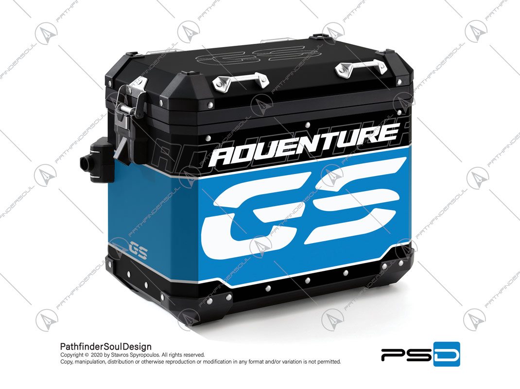 "R1200GS ADVENTURE CORDOBA BLUE BMW ALUMINIUM PANNIERS ""TRAVELLER"" STICKERS KIT#34918"