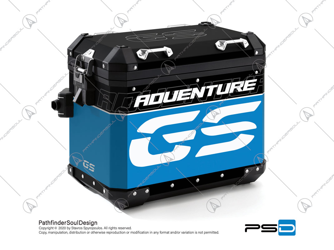 "R1200GS ADVENTURE CORDOBA BLUE BMW ALUMINIUM PANNIERS ""TRAVELLER"" STICKERS KIT#34919"
