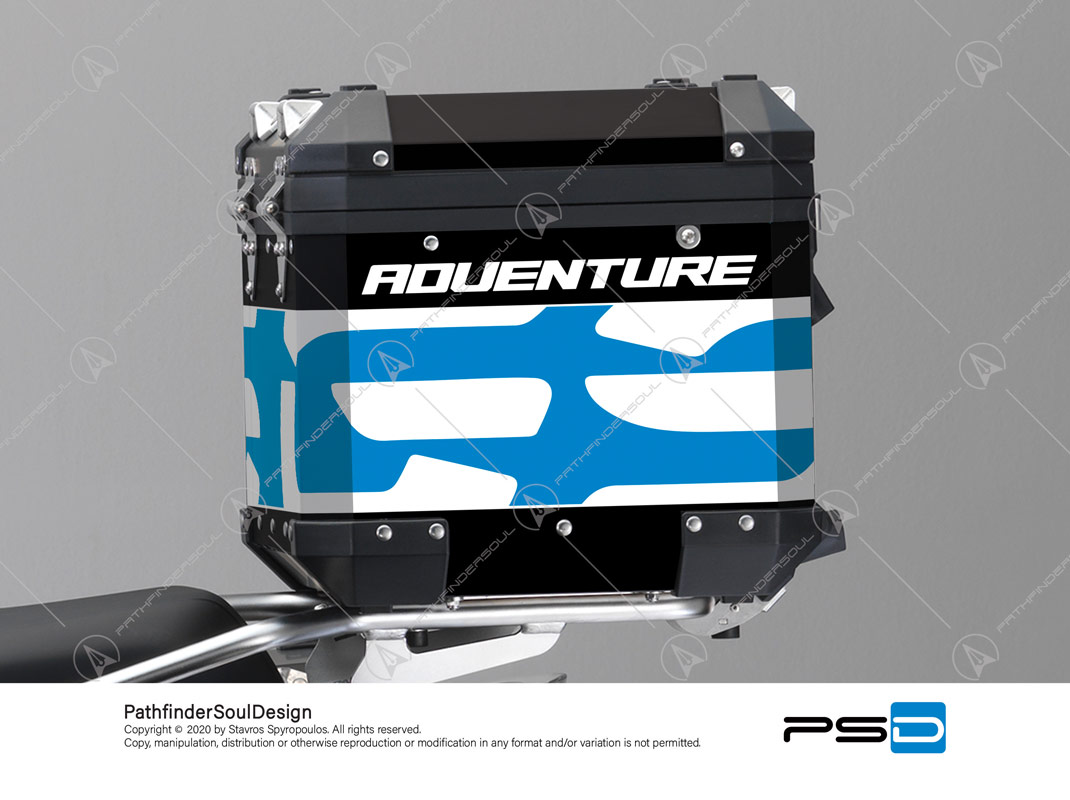 "R1200GS ADVENTURE CORDOBA BLUE BMW ALUMINIUM TOP BOX ""TRAVELLER"" STICKERS KIT#34920"