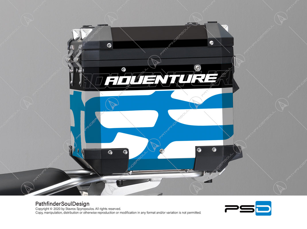"R1200GS ADVENTURE CORDOBA BLUE BMW ALUMINIUM TOP BOX ""TRAVELLER"" STICKERS KIT#34921"