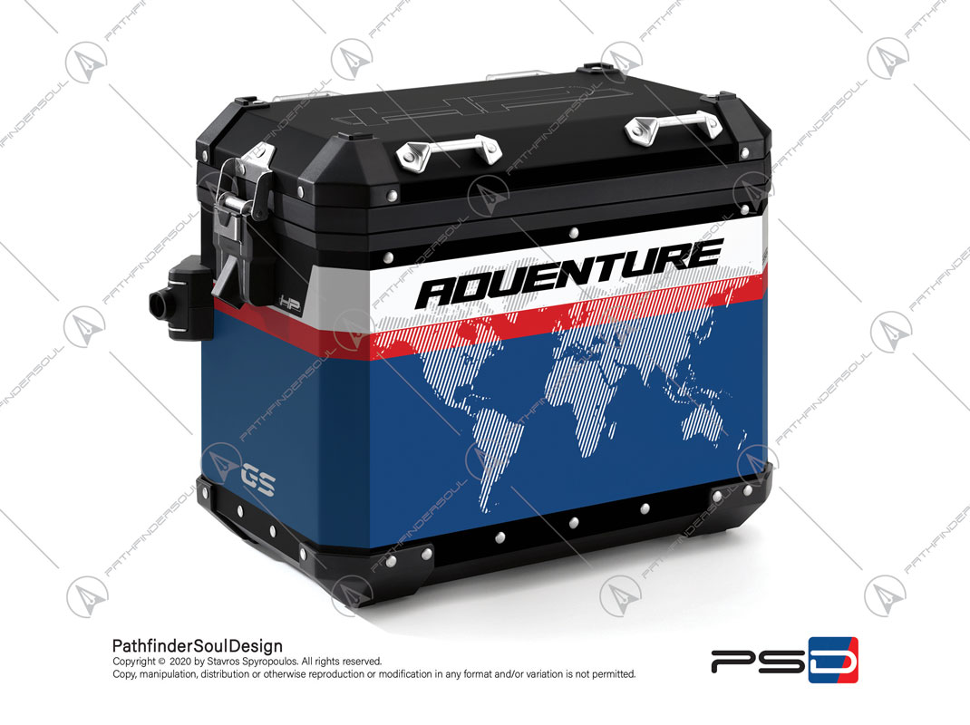 "R1250GS ADVENTURE HP STYLE BMW ALUMINIUM PANNIERS ""RACING"" STICKERS KIT#45271"