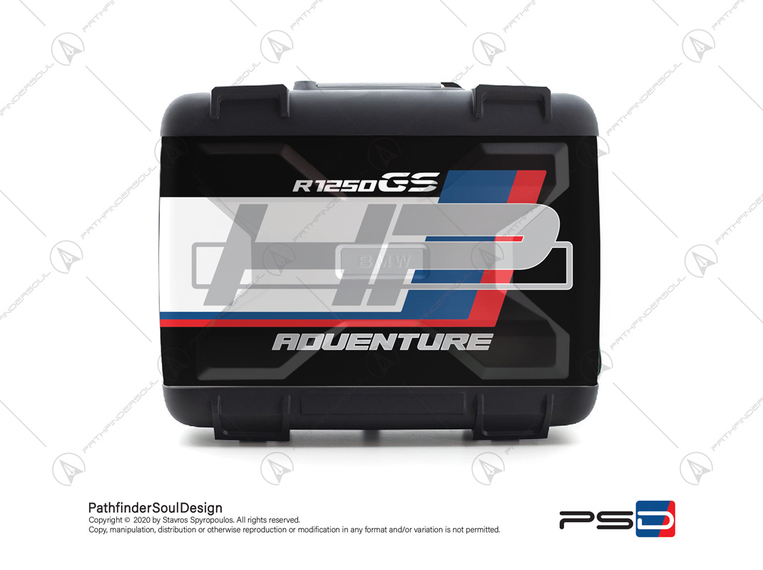 "R1250GS HP STYLE  BMW VARIO SIDE CASES SET ""HP"" STICKERS KIT#18901"