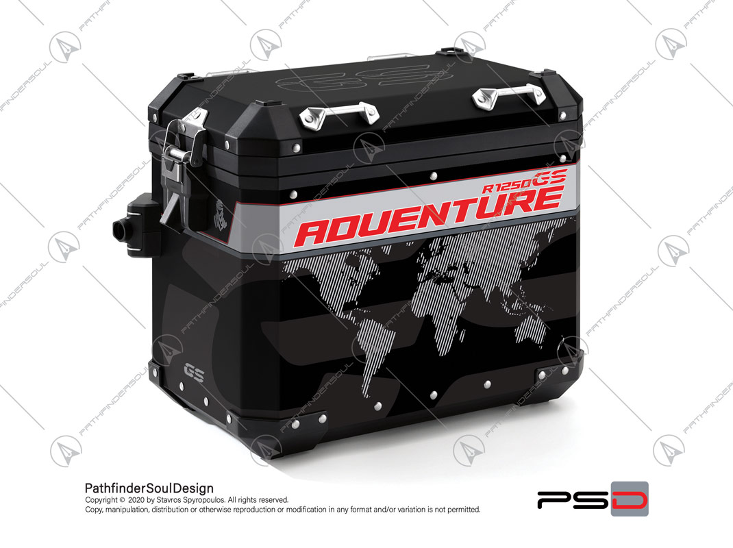 "R1250GS ADVENTURE ICE GREY BMW ALUMINIUM PANNIERS ""TRAVELLER"" STICKERS KIT#45273"
