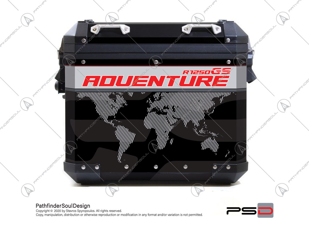 R1250 GSA ALU PANNIERS SIDE CASES STICKERS
