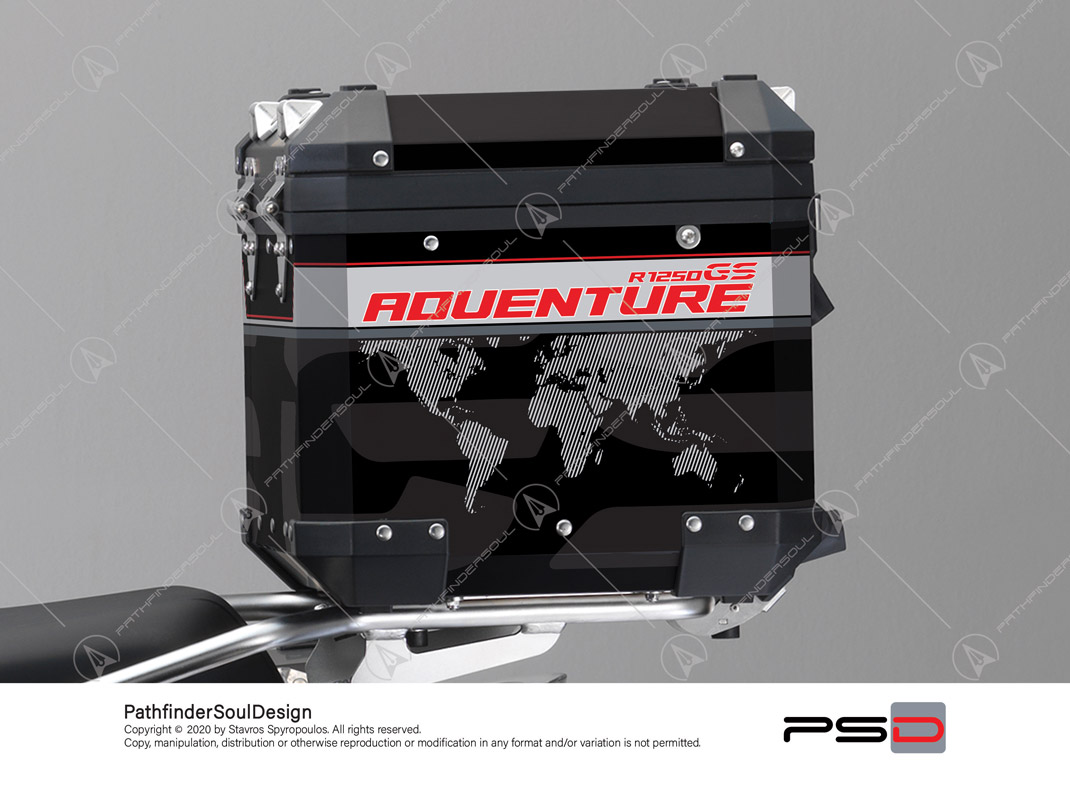 "R1250GS ADVENTURE ICE GREY BMW ALUMINIUM TOP BOX ""TRAVELLER"" STICKERS KIT#45273"