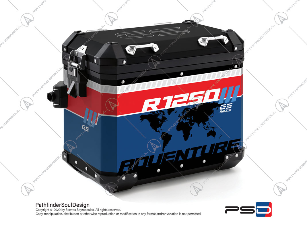 "R1250GS ADVENTURE STYLE RALLYE BMW ALUMINIUM PANNIERS ""RALLYE"" STICKERS KIT#46253"