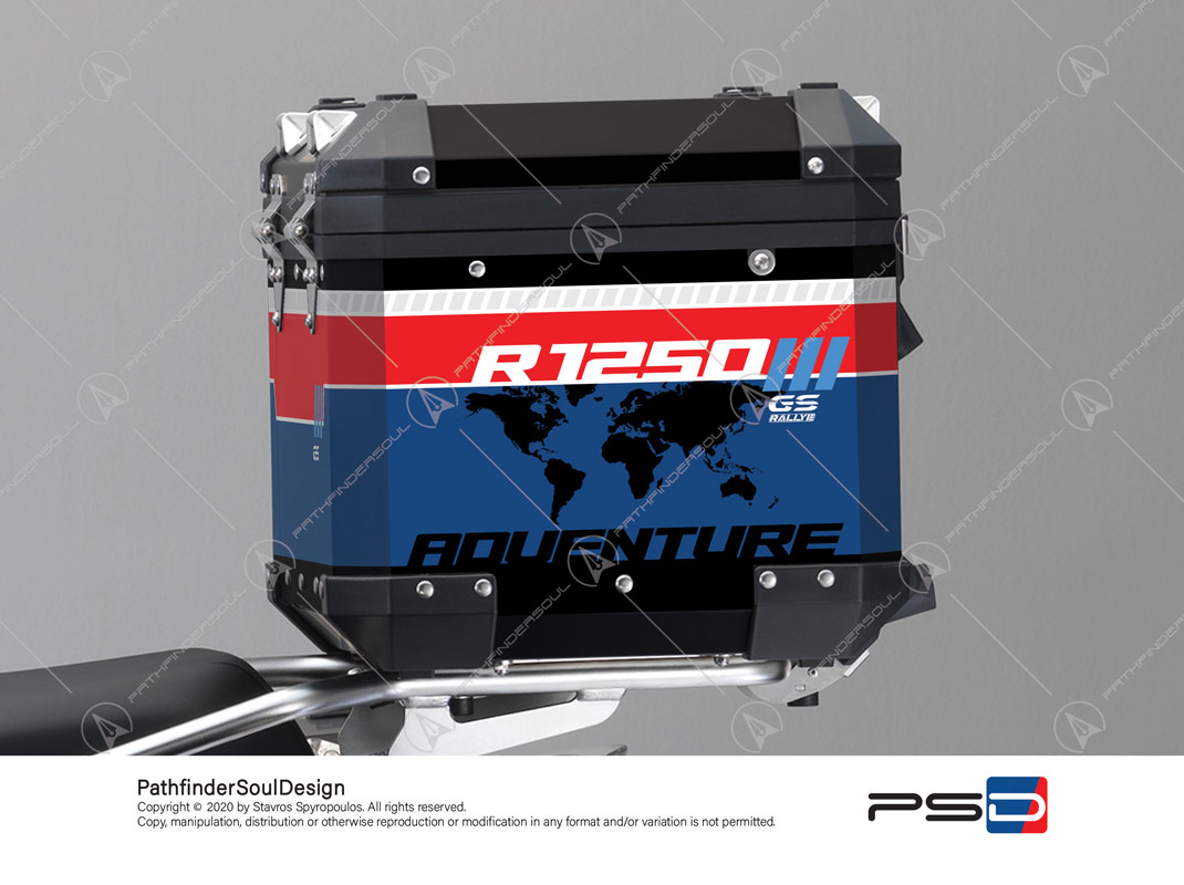 "R1250GS ADVENTURE STYLE RALLYE BMW ALUMINIUM TOP BOX ""RALLYE"" STICKERS KIT#46253"