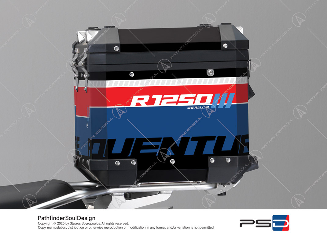 "R1250GS ADVENTURE STYLE RALLYE BMW ALUMINIUM TOP BOX ""RALLYE"" STICKERS KIT#46251"