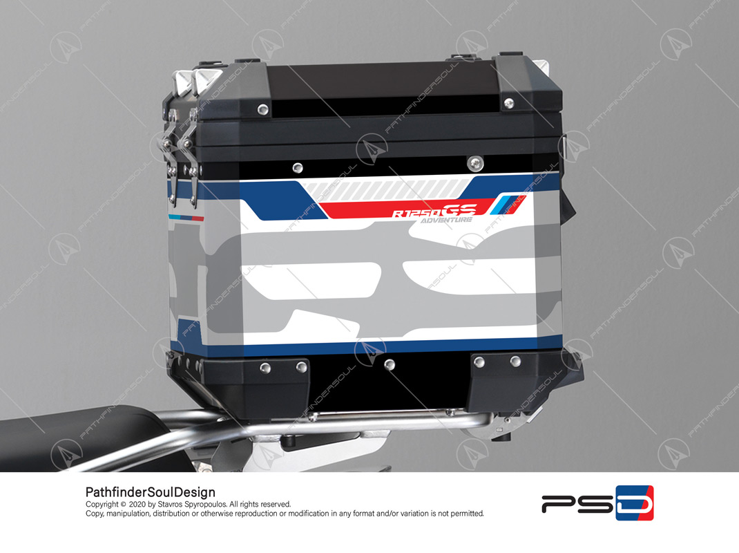 "R1250GS ADVENTURE STYLE RALLYE BMW ALUMINIUM TOP BOX ""ADV RALLYE"" STICKERS KIT#47909"