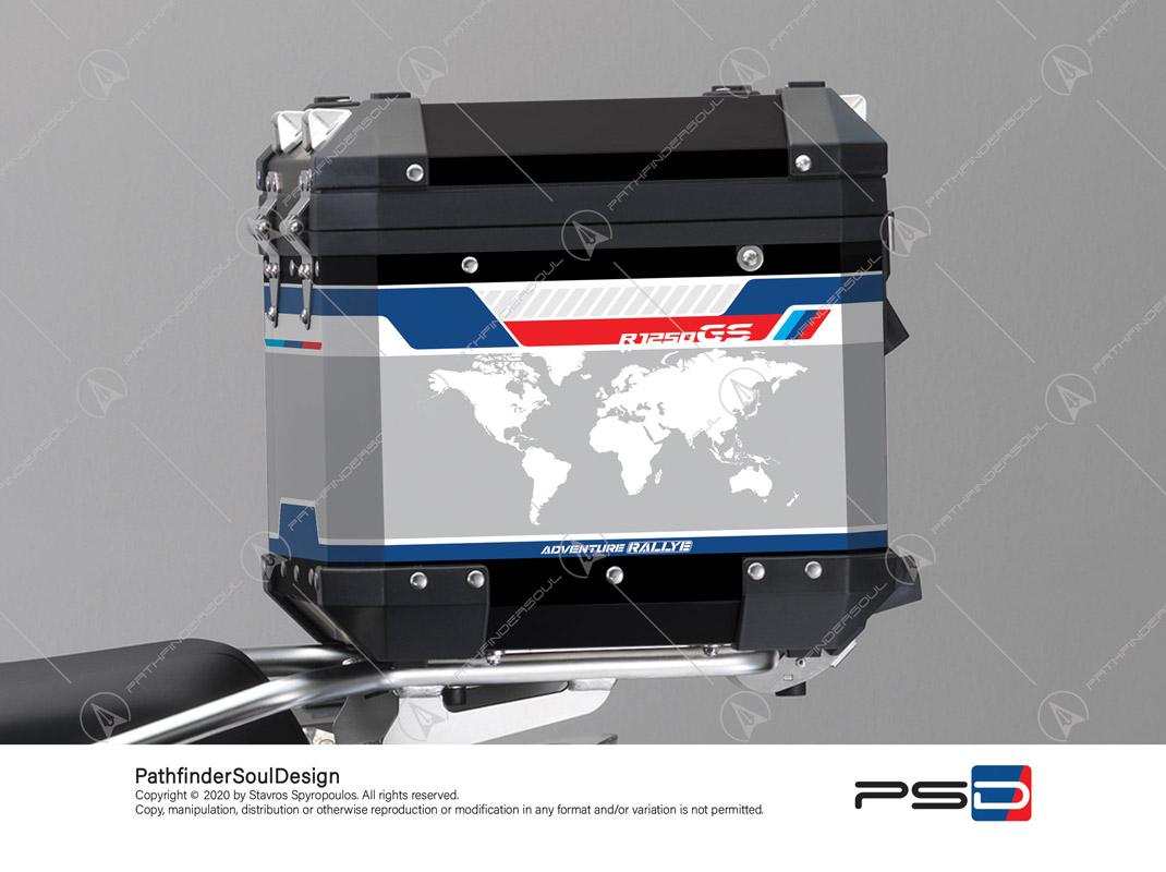 "R1250GS ADVENTURE STYLE RALLYE BMW ALUMINIUM TOP BOX ""ADV RALLYE"" STICKERS KIT#47910"