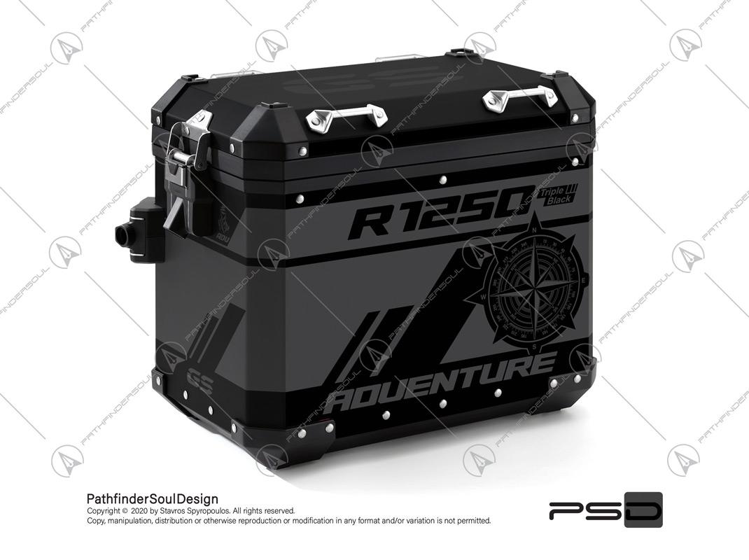"R1250GS ADVENTURE TRIPLE BLACK BMW ALUMINIUM PANNIERS ""TRAVELLER"" STICKERS KIT#45274"