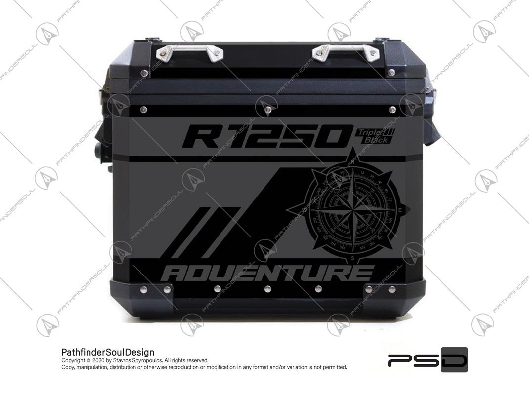R1250 GSA TRIPLE BLACK ALU PANNIER STICKERS