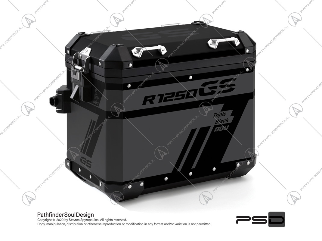 "R1250GS ADVENTURE TRIPLE BLACK BMW ALUMINIUM PANNIERS ""TRAVELLER"" STICKERS KIT#45270"