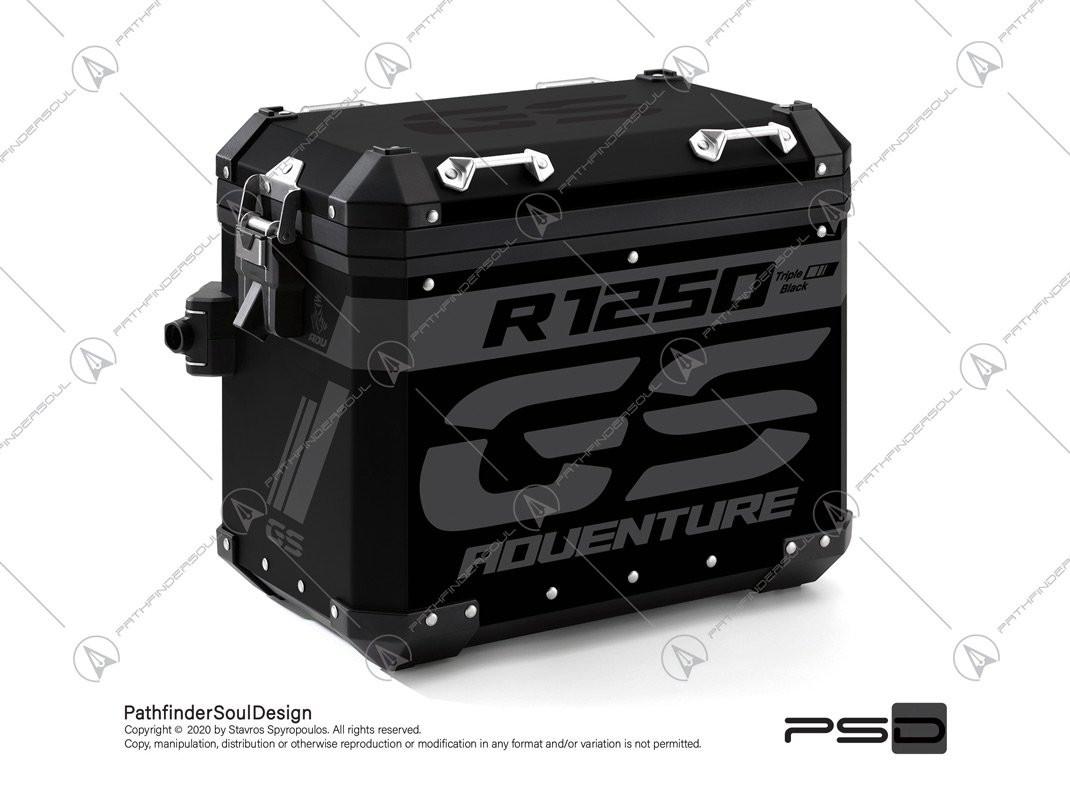 "R1250GS ADVENTURE TRIPLE BLACK BMW ALUMINIUM PANNIERS ""TRAVELLER"" STICKERS KIT#45271"