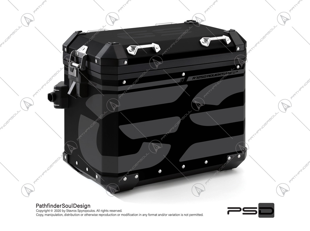 "R1250GS ADVENTURE TRIPLE BLACK BMW ALUMINIUM PANNIERS ""TRAVELLER"" STICKERS KIT#45273"