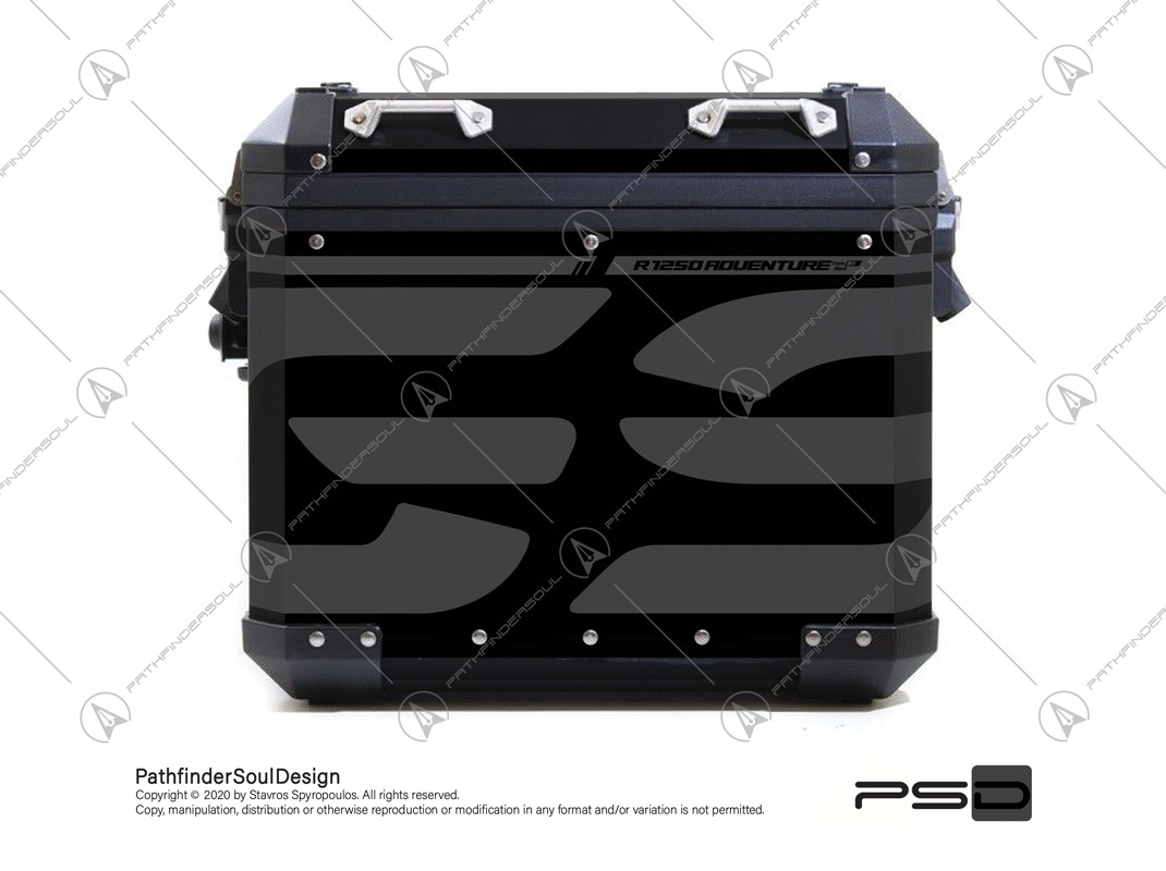 R1250 GSA TRIPLE BLACK ALU PANNIERS SIDE CASES STICKERS