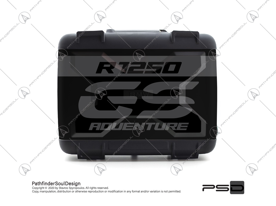 "R1250GS TRIPLE BLACK BMW VARIO SIDE CASES SET ""TRAVELLER"" STICKERS KIT#45271"
