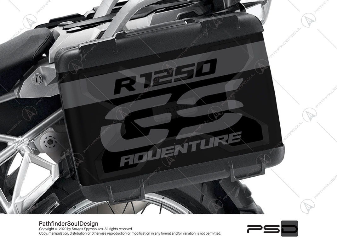 R1250 GS VARIO SIDE CASES PANNIERS STICKERS TRIPLE BLACK