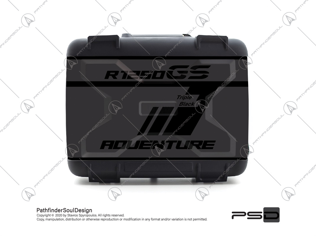 "R1250GS TRIPLE BLACK BMW VARIO SIDE CASES SET ""TRAVELLER"" STICKERS KIT#45270"