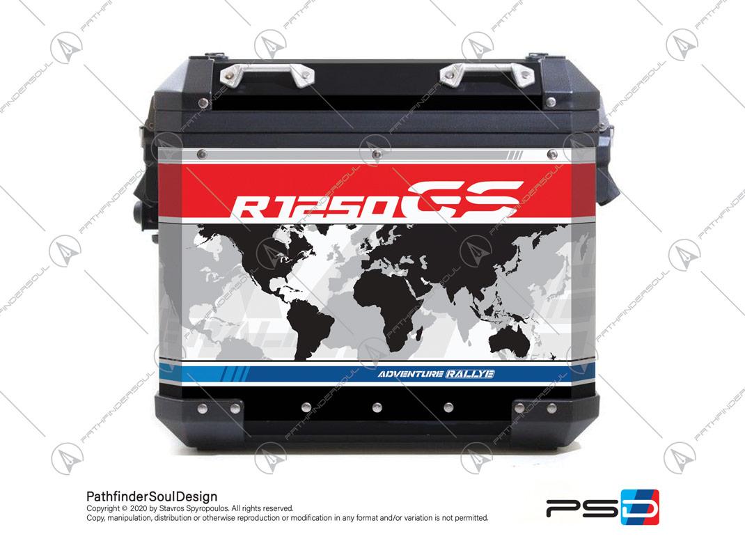 R1250 GSA STYLE RALLYE BMW ALU PANNIERS WORLD MAO STICKERS