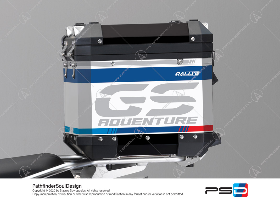 "R1250GS ADVENTURE STYLE RALLYE BMW ALUMINIUM TOP BOX ""TRAVELLER"" STICKERS KIT#25204"