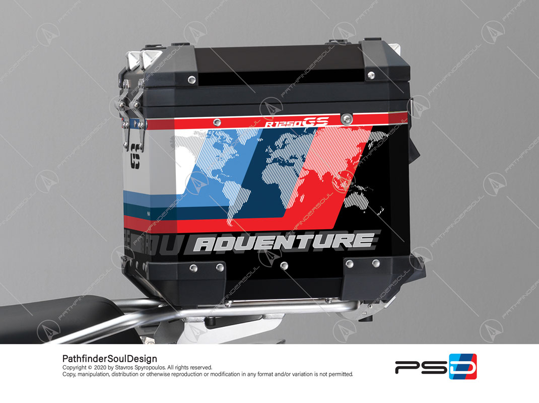 "R1250GS ADVENTURE STYLE RALLYE BMW ALUMINIUM TOP BOX ""ESSENCE"" STICKERS KIT#38269"