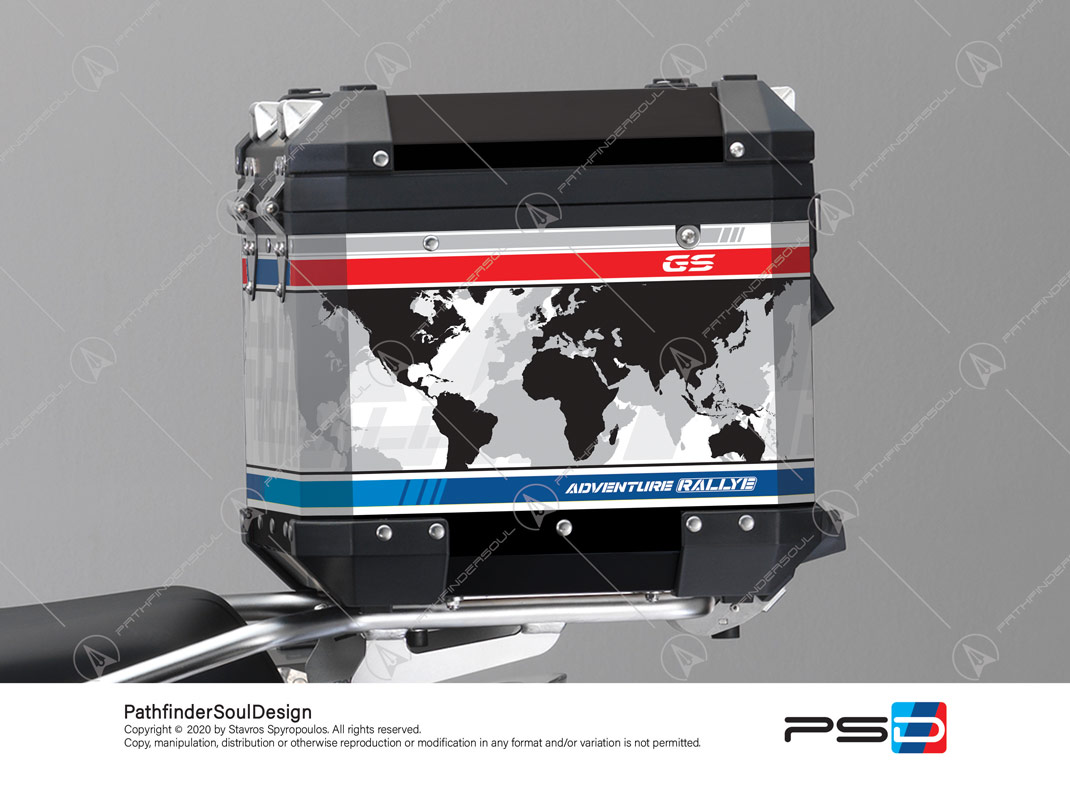 "R1250GS ADVENTURE STYLE RALLYE BMW ALUMINIUM TOP BOX ""WORLD MAP"" STICKERS KIT#50412"