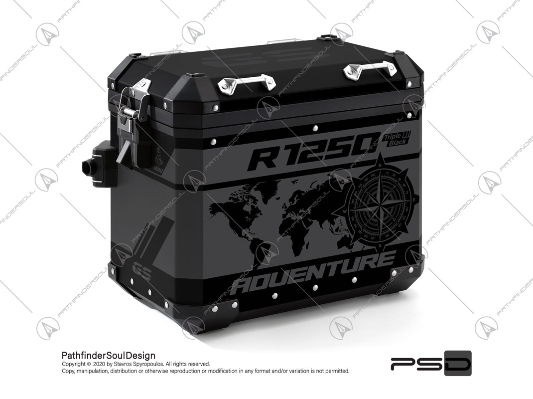 "R1250GS ADVENTURE TRIPLE BLACK BMW ALUMINIUM PANNIERS ""TRAVELLER"" STICKERS KIT#45275"