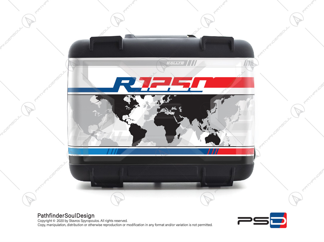 "R1250GS STYLE RALLYE BMW VARIO SIDE CASES SET ""WORLD MAP"" STICKERS KIT#50412"