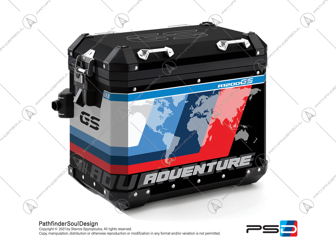 "R1200GS ADVENTURE CORDOBA BLUE BMW ALUMINIUM PANNIERS ""ESSENCE"" STICKERS KIT#38296"