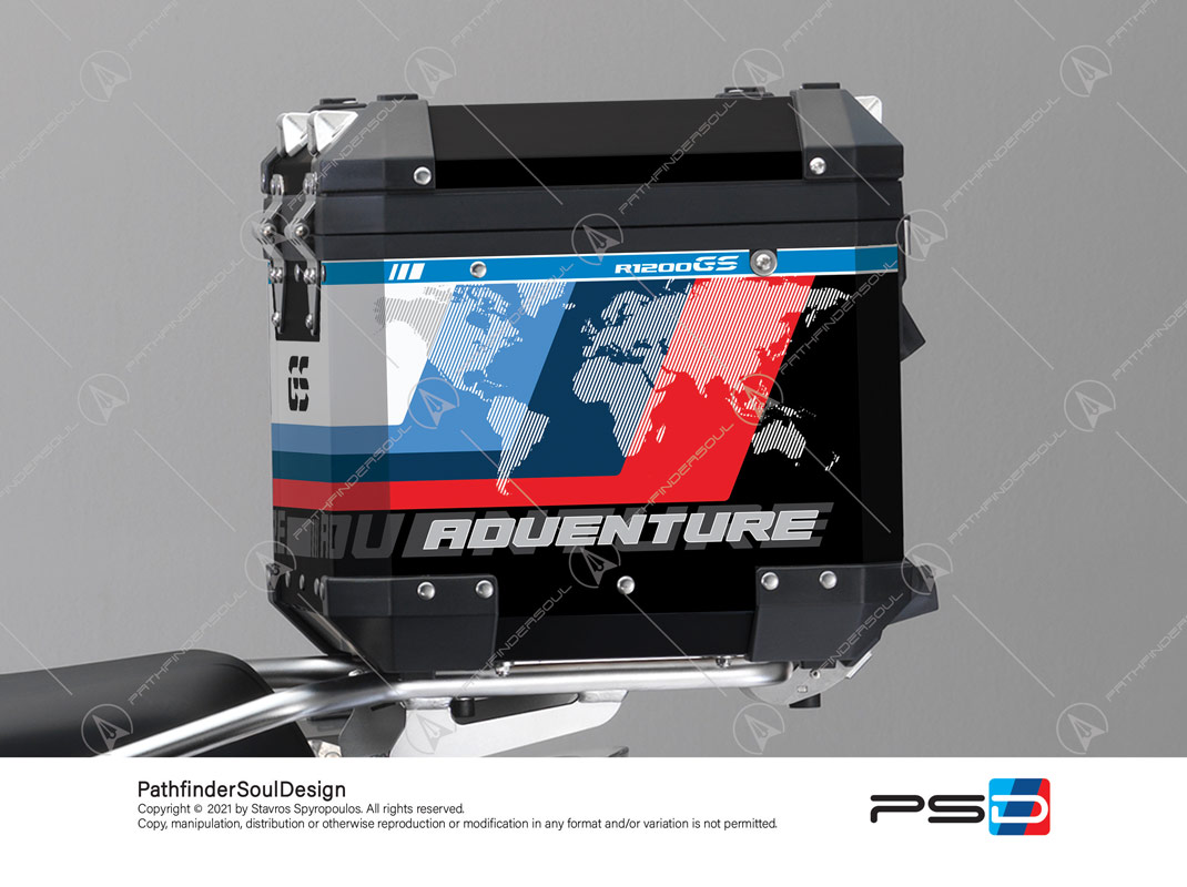 "R1200GS ADVENTURE CORDOBA BLUE BMW ALUMINIUM TOP BOX ""ESSENCE"" STICKERS KIT#38296"