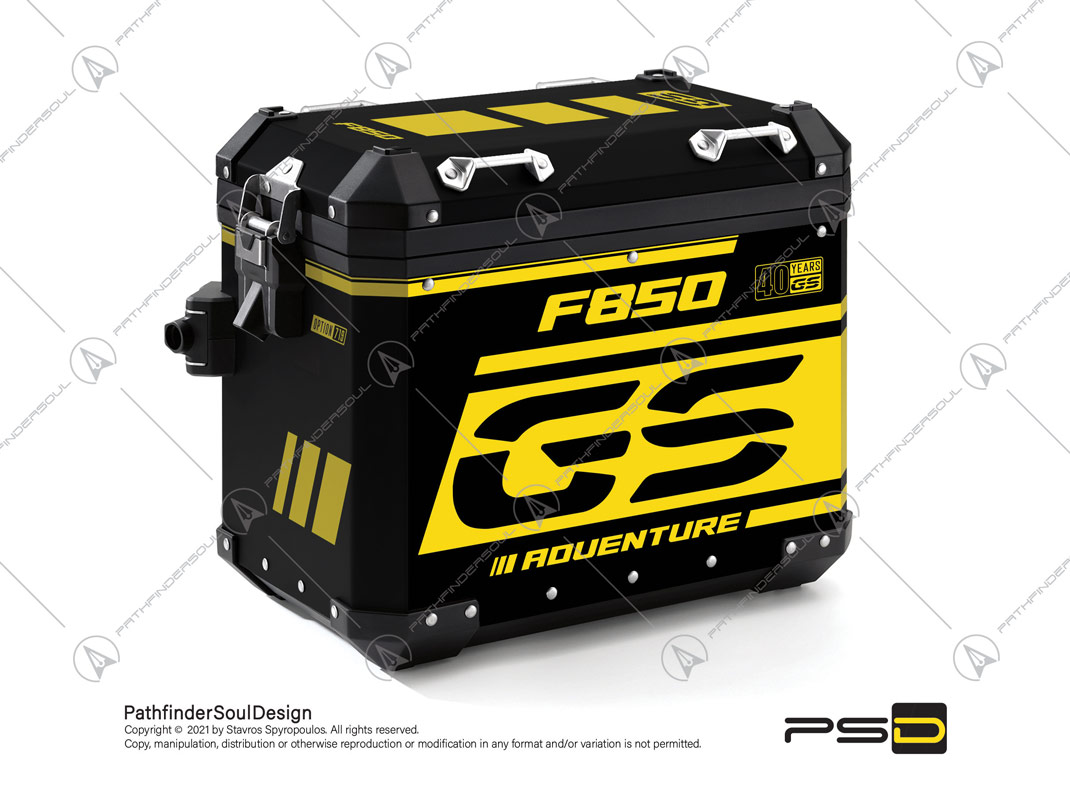 "F850GS ADVENTURE 40 YEARS GS EDITION BMW ALUMINIUM PANNIERS ""ANNIVERSARY"" STICKERS KIT#48726"