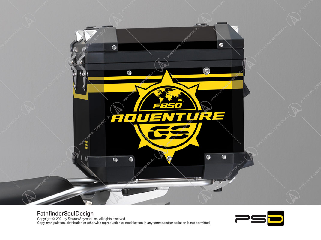 "F850GS ADVENTURE 40 YEARS GS EDITION BMW ALUMINIUM TOP BOX ""GENUINE ADV"" STICKERS KIT#53808"