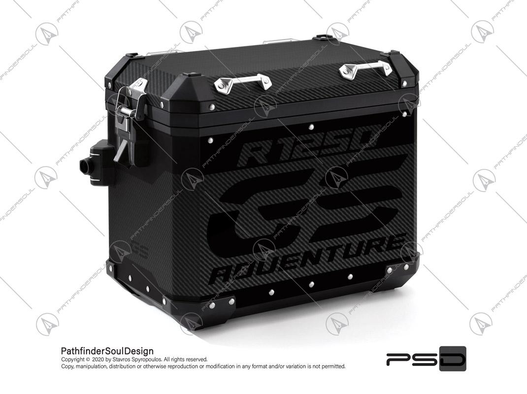 """R1250GS ADVENTURE TRIPLE BLACK BMW ALUMINIUM PANNIERS """"CARBON FIBER"""" VINYL KIT#24102"""