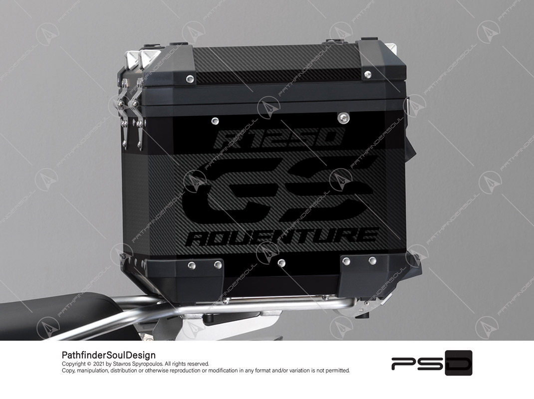 "R1250GS ADVENTURE TRIPLE BLACK BMW ALUMINIUM TOP BOX ""CARBON FIBER"" VINYL KIT#24102"