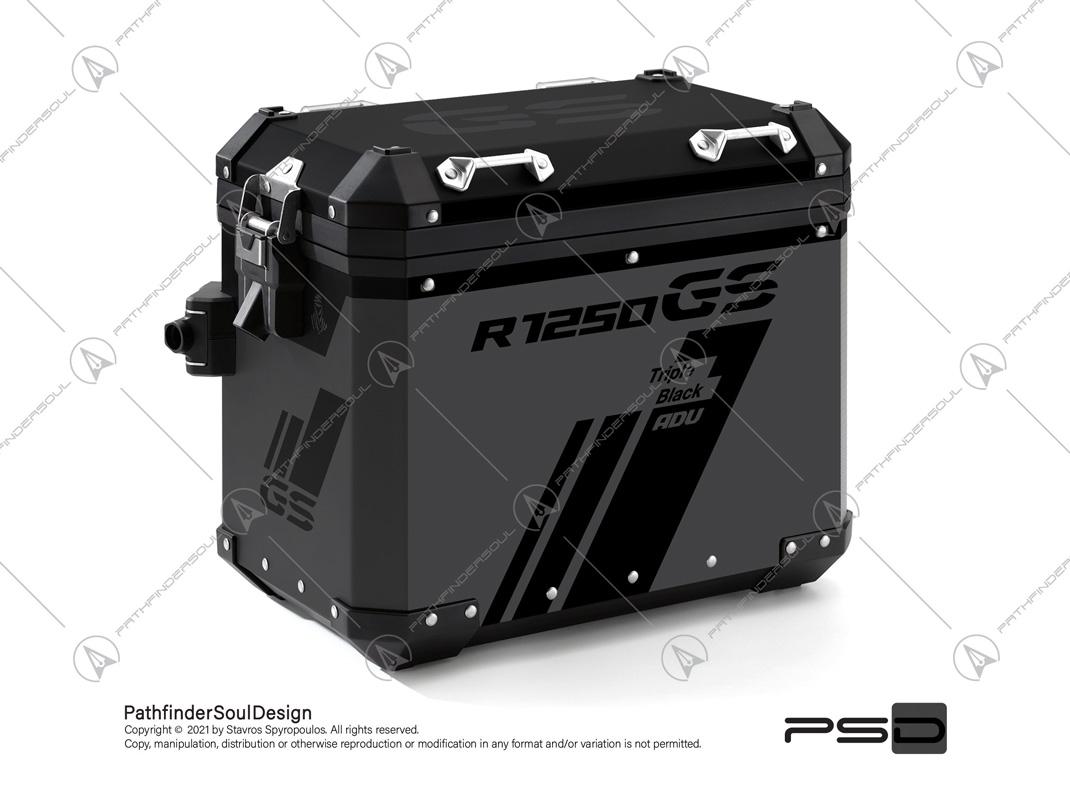 """R1250GS ADVENTURE TRIPLE BLACK BMW ALUMINIUM PANNIERS """"TRAVELLER"""" REFLECTIVE KIT#45269"""