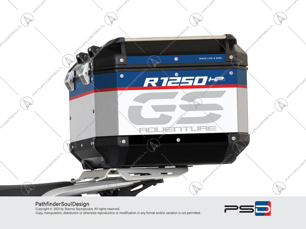 "R1250GS ADVENTURE HP STYLE GIVI TREKKER OUTBACK 58L TOP CASE ""TRAVELLER"" STICKERS KIT#25203"
