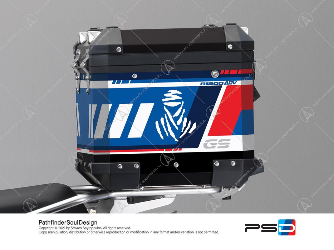 "R1200GS ADVENTURE ALPINE WHITE BMW ALUMINIUM TOP BOX ""ADV RALLYE"" STICKERS KIT#55712"