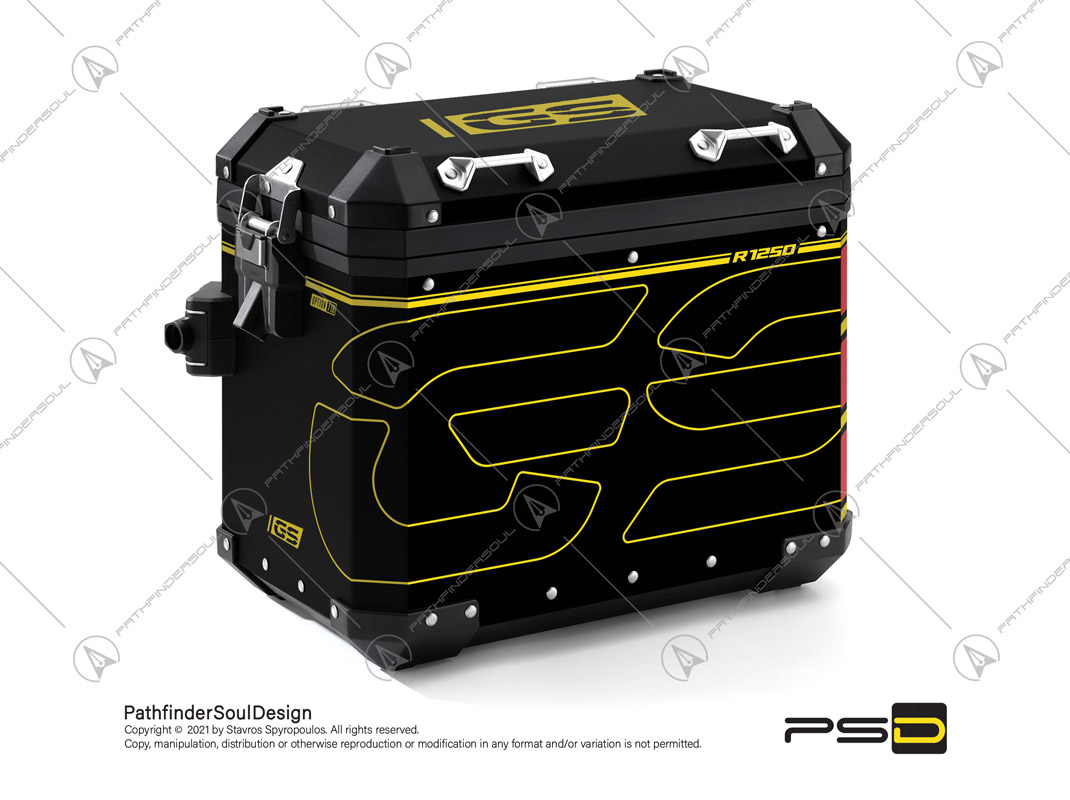 """R1250GS ADVENTURE 40 YEARS GS EDITION BMW ALUMINIUM PANNIERS """"ELECTRIC"""" STICKERS KIT#34532"""
