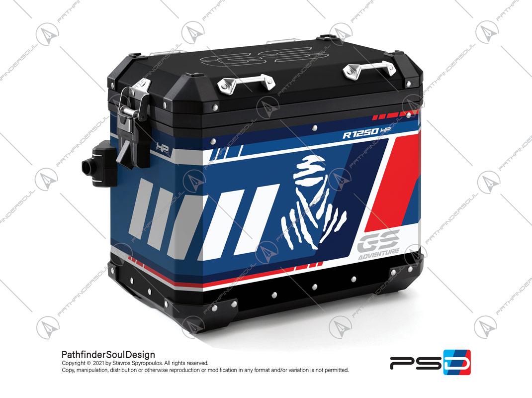 "R1250GS ADVENTURE HP STYLE BMW ALUMINIUM PANNIERS ""ADV RALLYE"" STICKERS KIT#55712"