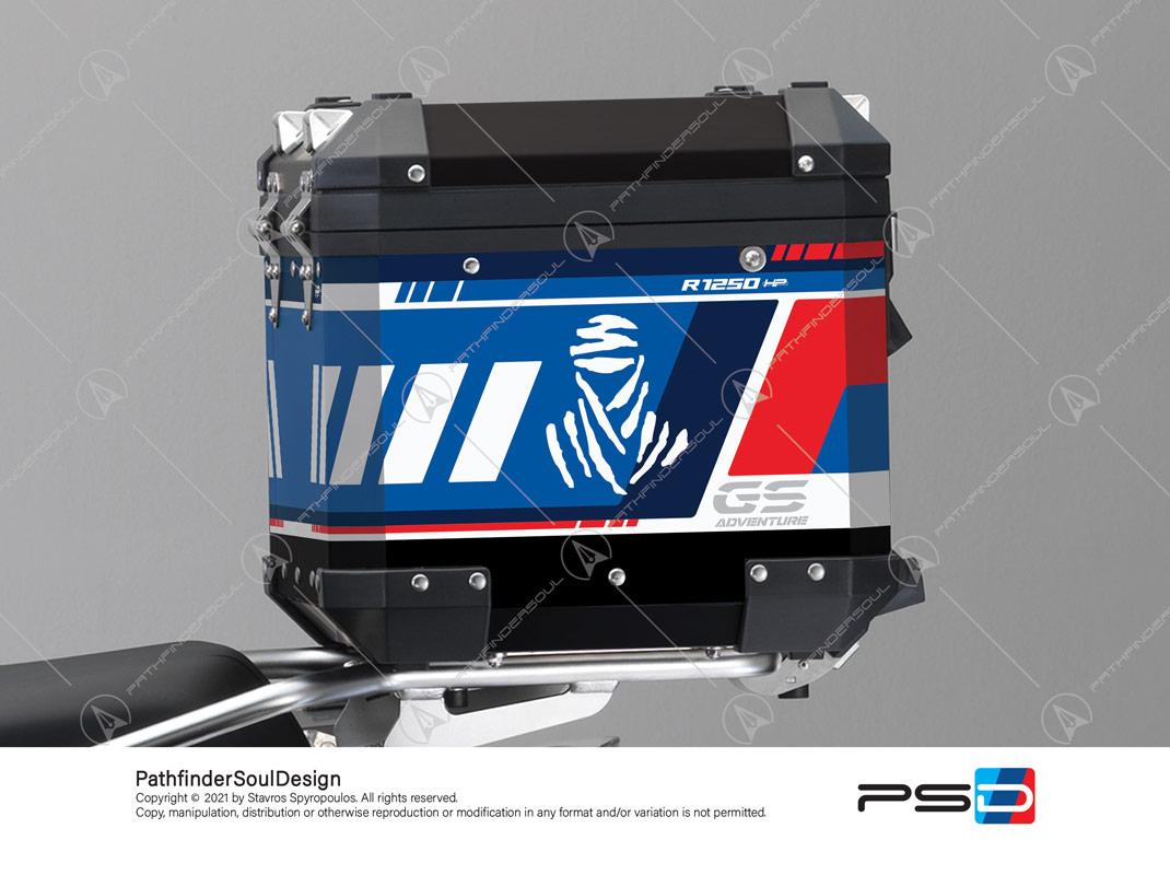 "R1250GS ADVENTURE HP STYLE BMW ALUMINIUM TOP BOX ""ADV RALLYE"" STICKERS KIT#55712"