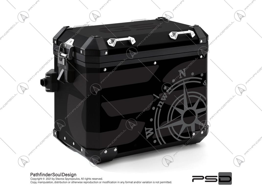"R1250GS ADVENTURE TRIPLE BLACK BMW ALUMINIUM PANNIERS ""COMPASS"" STICKERS KIT#56286"