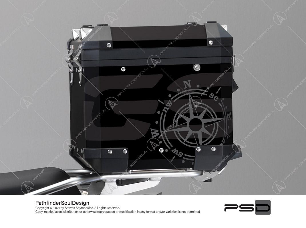 "R1250GS ADVENTURE TRIPLE BLACK BMW ALUMINIUM TOP BOX ""COMPASS"" STICKERS KIT#56286"
