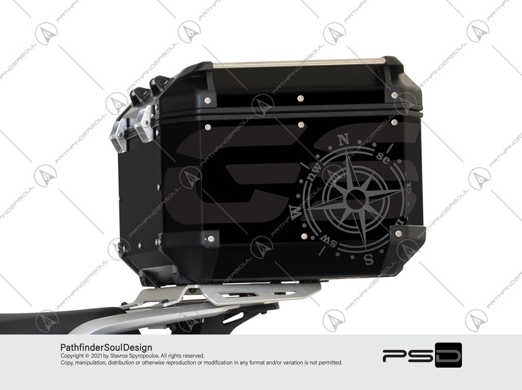 "R1250GS ADVENTURE TRIPLE BLACK GIVI TREKKER OUTBACK 42L TOP CASE ""COMPASS"" STICKERS KIT#56286"